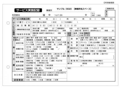 サービス実績記録/介護記録サンプル(502)