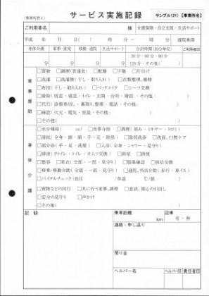 サービス実施記録/介護記録サンプル(21)