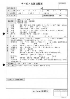 サービス実施記録票/介護記録サンプル(22)