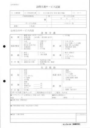訪問介護サービス記録/介護記録サンプル(34)