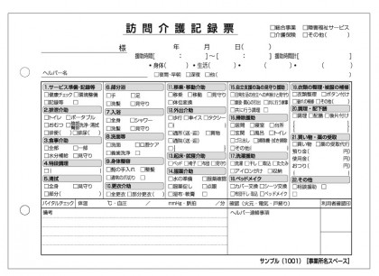 訪問介護記録票/介護記録サンプル(1001)