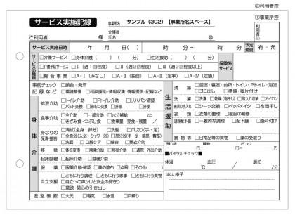 サービス実施記録/介護記録サンプル(302)