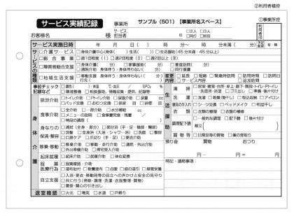 サービス実績記録/介護記録サンプル(501)