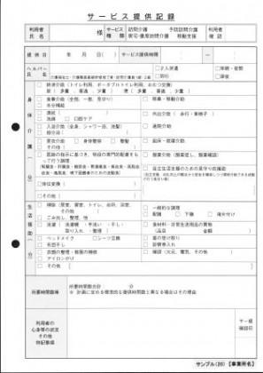 サービス提供記録/介護記録サンプル(20)