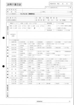 訪問介護日誌/介護記録サンプル(33)